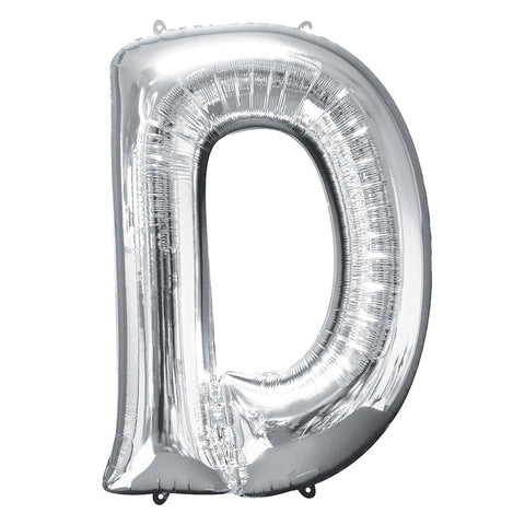 Letter D silver foil balloon for sale online in Dubai