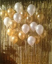 Light Gold Tassel/ tinsel Foil curtain, backdrop 2m - PartyMonster.ae