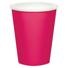 Magenta Pink Paper Cups - 10pcs - PartyMonster.ae