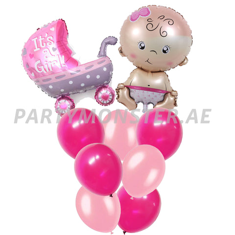 New born baby girl balloons bouquet 2 - PartyMonster.ae