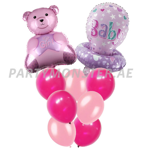 New born baby girl balloons bouquet - PartyMonster.ae