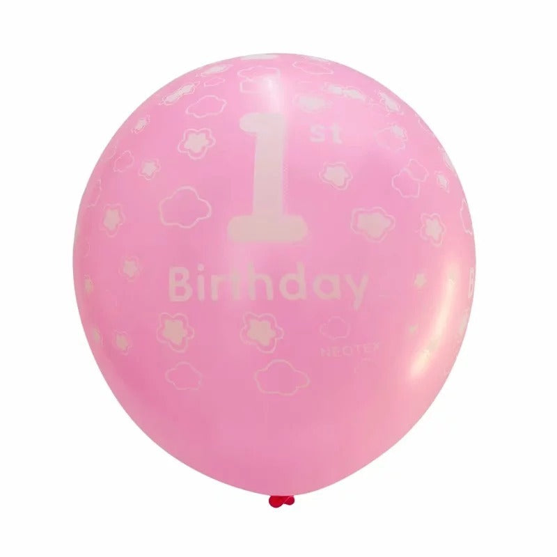 Number 1 printed pink happy birthday latex balloon 12inch - PartyMonster.ae
