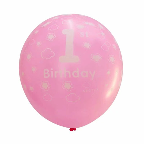 Number 1 printed pink happy birthday latex balloon 12inch