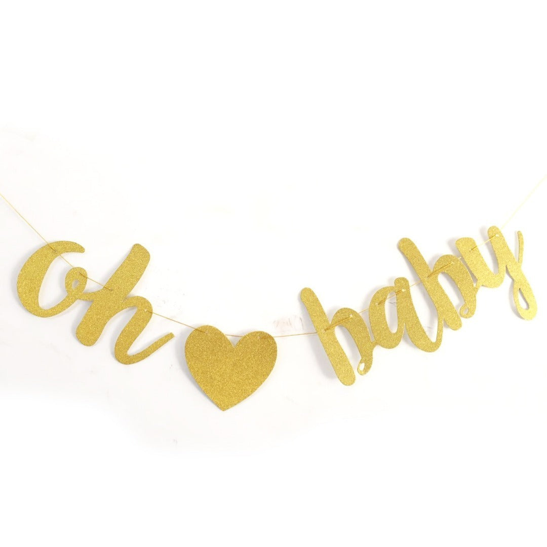 Oh baby Gold banner for newborn, kids birthdays, party decoration - PartyMonster.ae