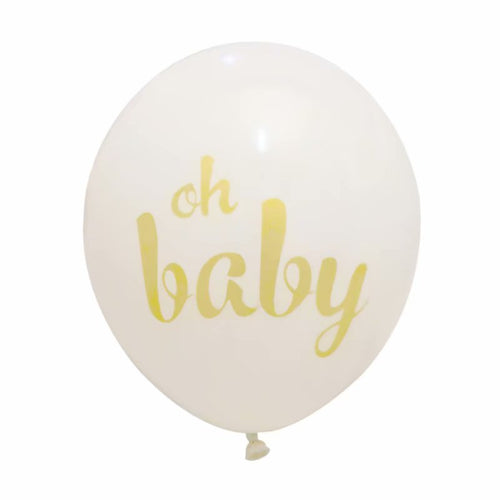 oh Baby gold and white latex balloon 12inches for birthdays, love, bridal and baby showers,newborn