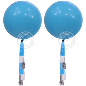 Blue Latex Round Balloon - 3 Feet - PartyMonster.ae