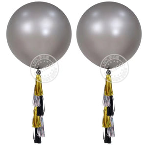 Grey Latex Round Balloon - 3 Feet - PartyMonster.ae