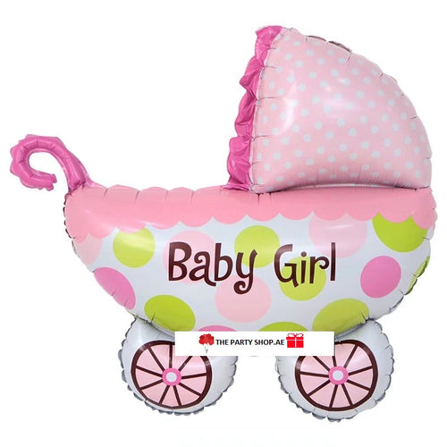 Baby Girl Pram Balloon - 31in - PartyMonster.ae