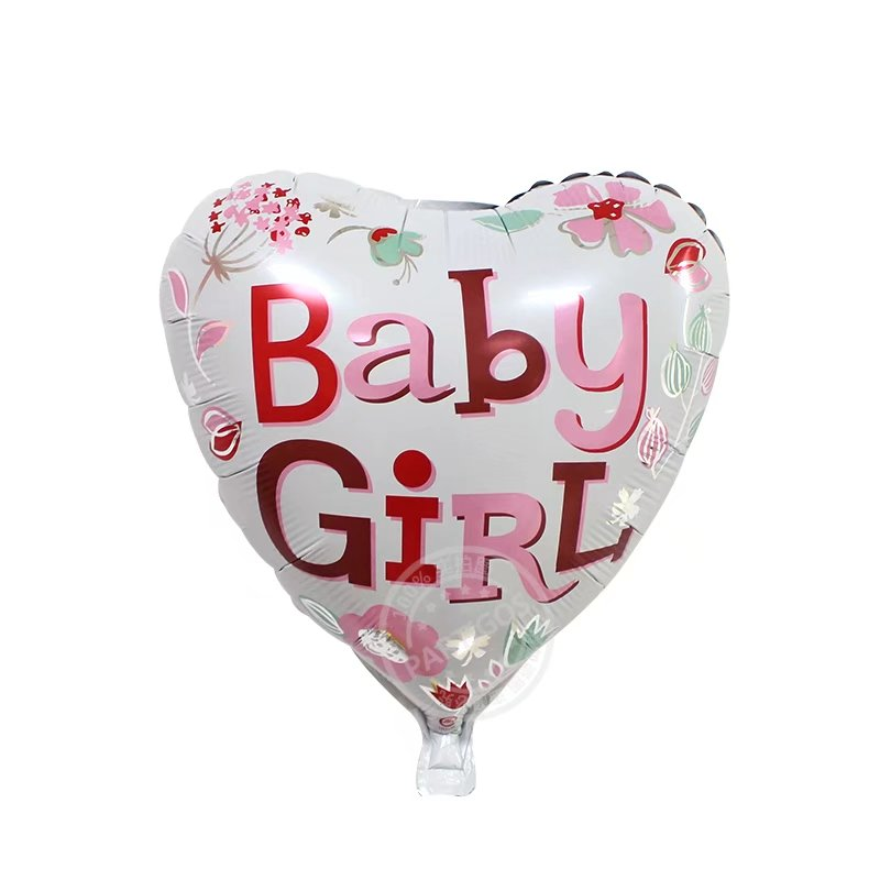 Baby Girl Heart Shaped Foil Balloon - 18in - PartyMonster.ae