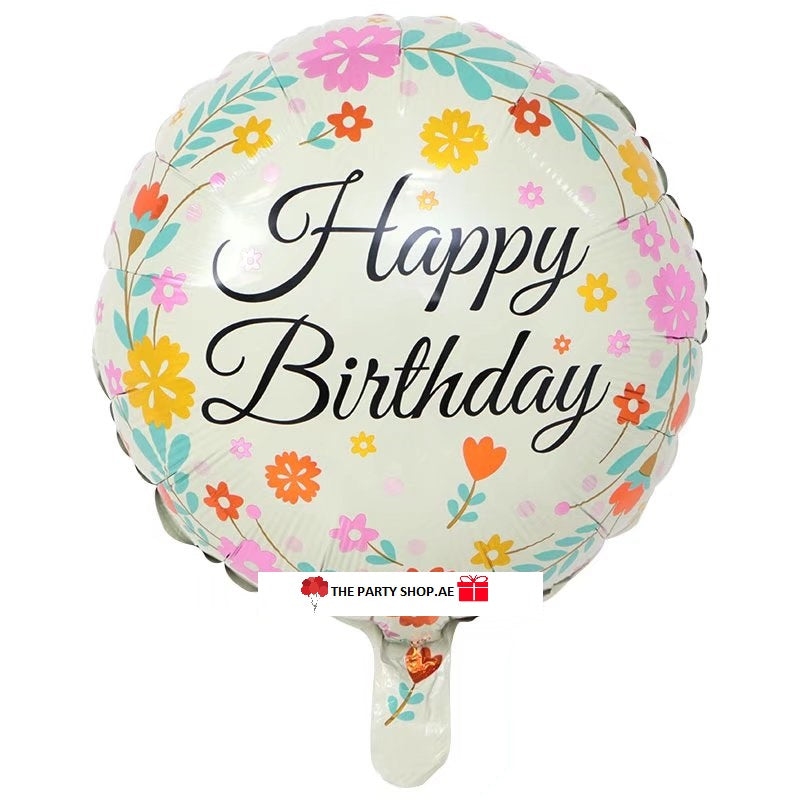 Flowers Happy Birthday Foil Balloon - 18in - PartyMonster.ae