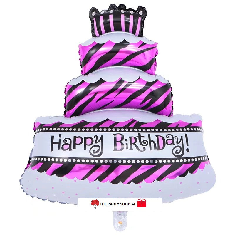 Purple Happy Birthday Tier Cake Foil Balloon - 40in - PartyMonster.ae