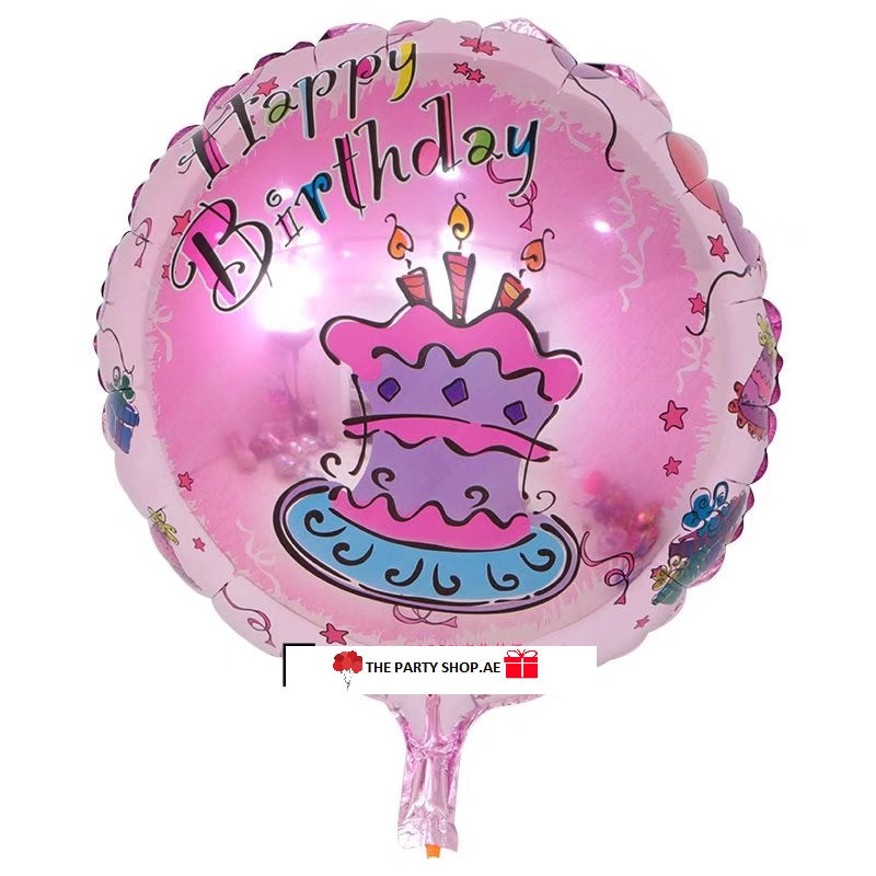 Pink Cake Happy Birthday Balloon