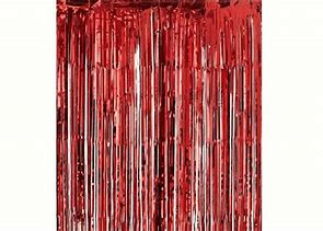 Red Tassel/ tinsel Foil curtain, backdrop 2m - PartyMonster.ae