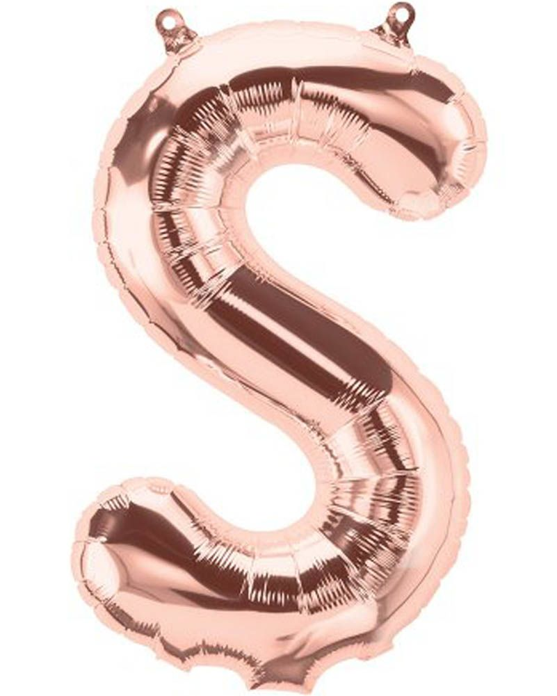 Letter S rose gold foil balloon - 16 inches