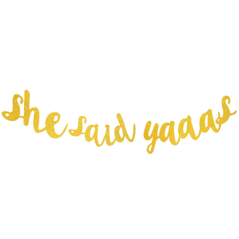 She Said Yaas in gold bridal shower banner - PartyMonster.ae
