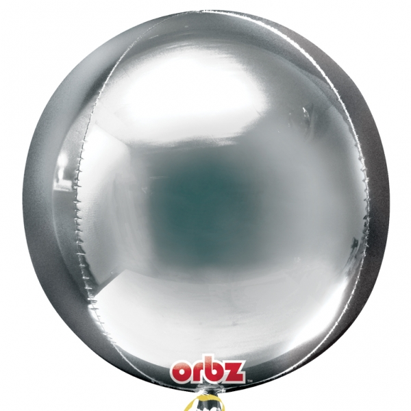 4D Orbz Silver Balloon Sphere - 24in - PartyMonster.ae