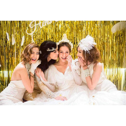 Gold Tassel/ tinsel Foil curtain, backdrop 2m - PartyMonster.ae