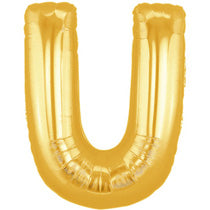 Letter U Golden Foil Balloon - 16in - PartyMonster.ae