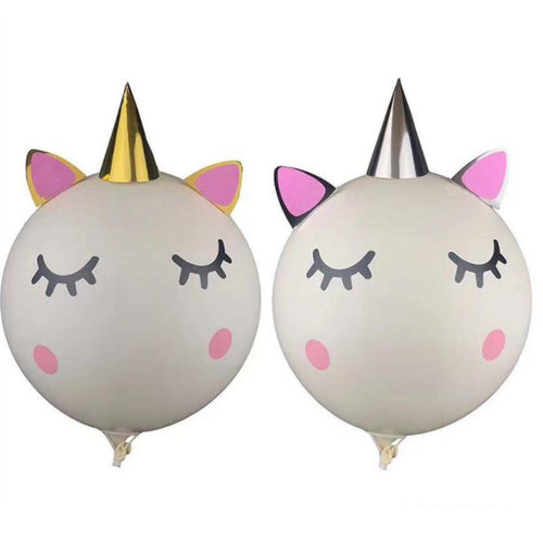 Unicorn face 36inches latex balloon in silver and gold horn