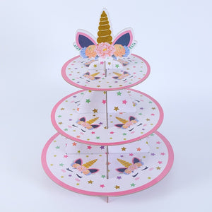 Unicorn themed style 3 cupcake stand- 3 tier - PartyMonster.ae