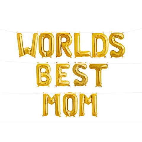 World's Best Mom balloons bunting - Air filled