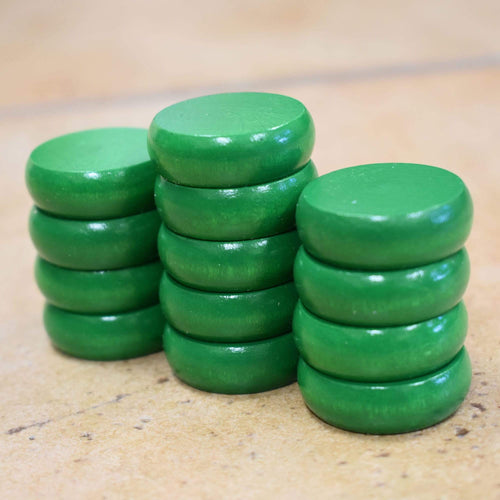 Crokinole Canada Crokinole Pieces No Pouch 13 Green Traditional Size Crokinole Discs (Half Set)