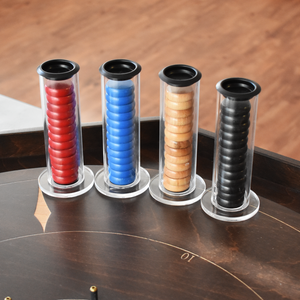 Premium Crokinole Board Game Kit - The Crokinole Master - Point Trackers in Ditch & Disc Storage Unit in Back - Laser Engraved Lines & Point Numbers