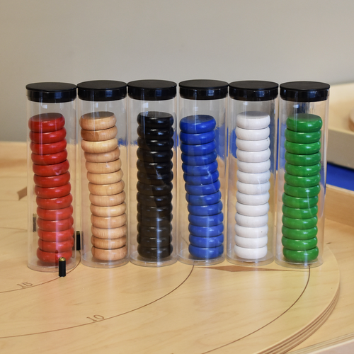 6 Color Crokinole Disc Party Pack (78 Discs) with Plastic Crokinole Disc Holders