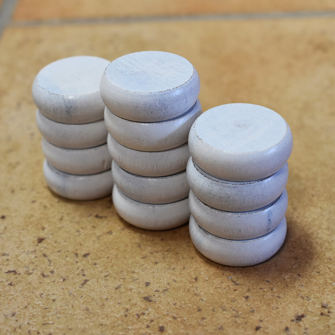 13 White Traditional Size Crokinole Discs (Half Set) - DISCOUNTED