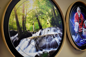 Peaceful Morning Waterfalls - Tournament Crokinole Board Game Set - Meets NCA Standards