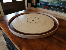 Load image into Gallery viewer, Birds Eye Beauty - Tournament Size Crokinole Board Game Set - Stained Dark Maple Ditch - Birds Eye Maple Surface & Canadian Maple Side Rails