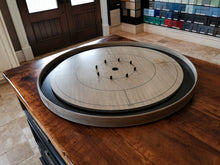Load image into Gallery viewer, The Championship Crokinole Board Game Set - Stained Gray Rock Surface & Painted Ditch - Canadian Maple Surface & Side Rails