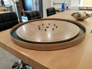 The Championship Crokinole Board Game Set - Stained Gray Rock Surface & Painted Ditch - Canadian Maple Surface & Side Rails