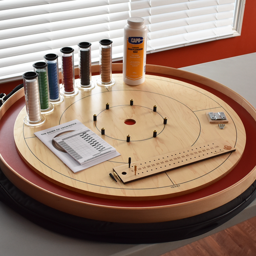 The Championship Tournament Board Game Crokinole Kit (Red)