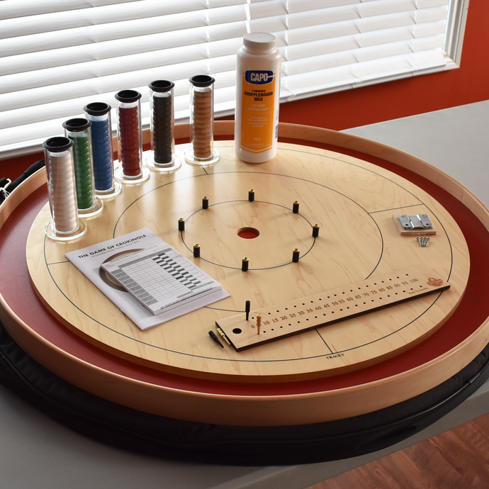 Premium Crokinole Board Game Kit - The Championship Board - Red Painted Ditch
