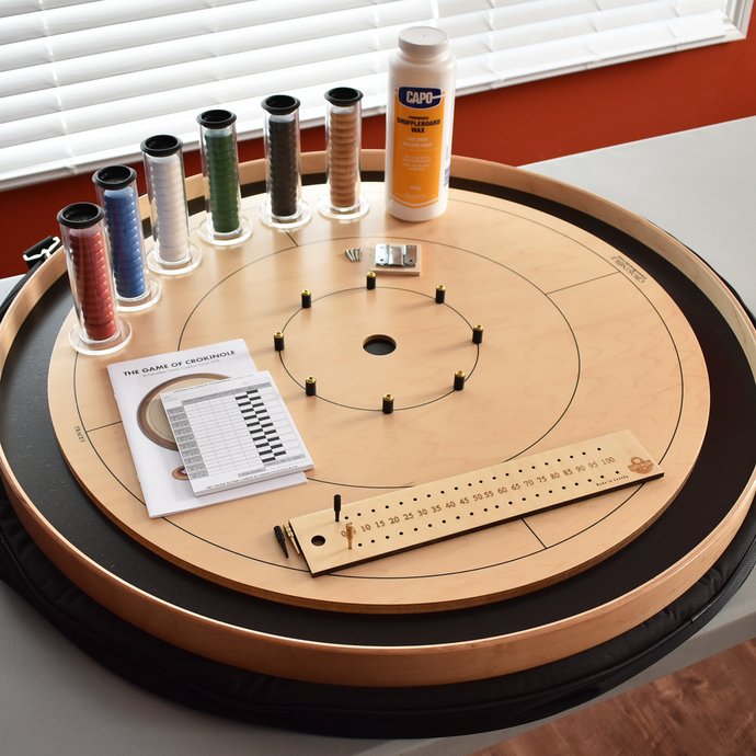 Premium Crokinole Board Game Kit - The Championship Board - Painted Black Ditch