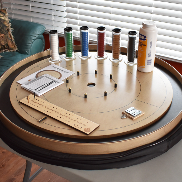 Premium Crokinole Board Game Kit - The Championship Board - Gray Rock Stained Surface & Painted Ditch