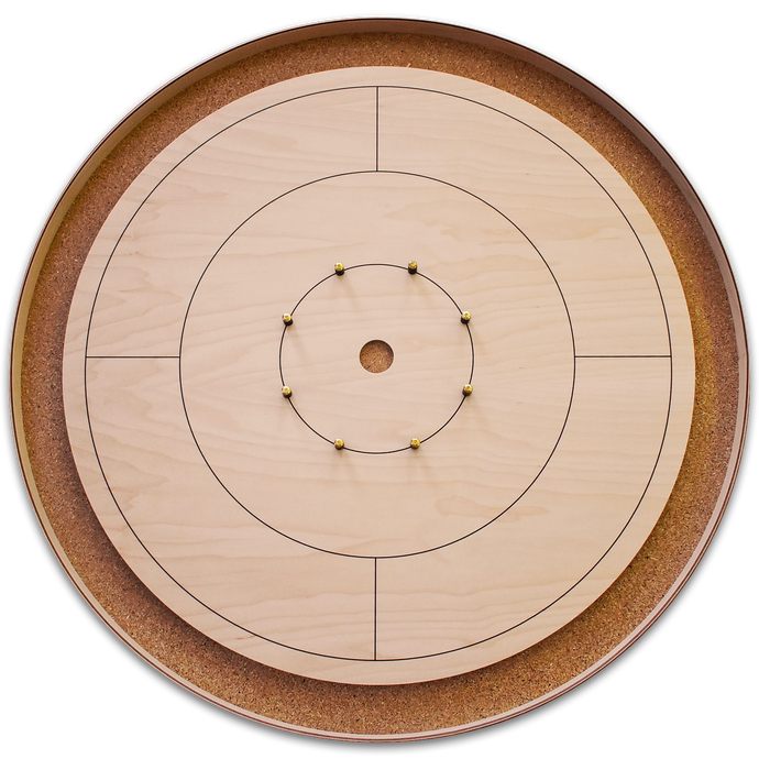 The World Famous - Tournament Crokinole Board Game Set - All Natural Wood Color - No Stain - Canadian Maple Surface & Side Rails