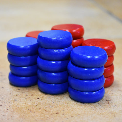 26 Traditional Size Crokinole Discs (Red & Blue)