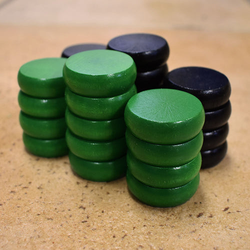 26 Traditional Size Crokinole Discs (Black & Green)