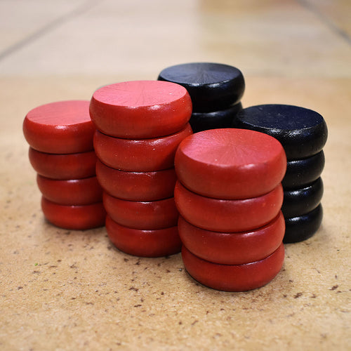 26 Traditional Size Crokinole Discs (Black & Red)