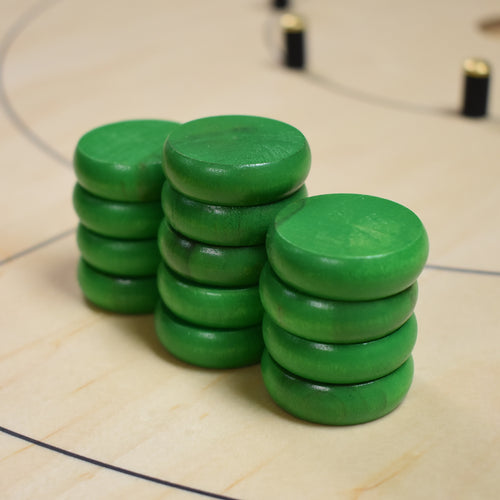 13 Green Tournament Size Crokinole Discs (Half Set) - DISCOUNTED