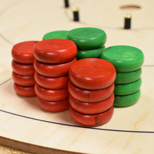 Load image into Gallery viewer, 26 Tournament Size Crokinole Discs - Red & Green - DISCOUNTED
