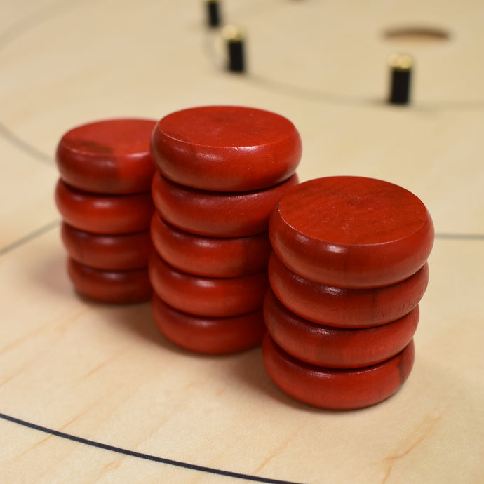 13 Red Tournament Size Crokinole Discs (Half Set) - DISCOUNTED