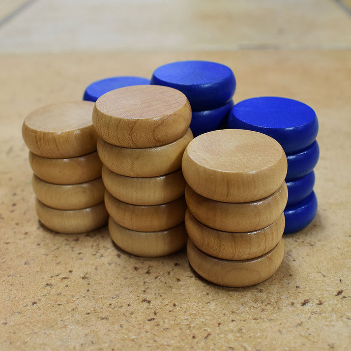 26 Traditional Size Crokinole Discs (Natural & Blue)