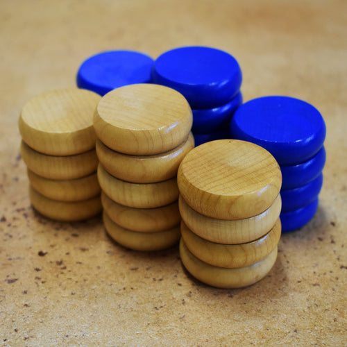 26 Crokinole Discs (Natural & Blue)