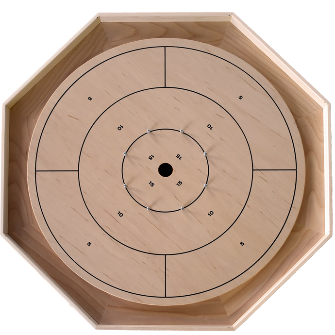 The Classic Board - Traditional Size Crokinole Board Game Set - Point Numbers on Front & Checkers on Back - Canadian Maple Playing Surface