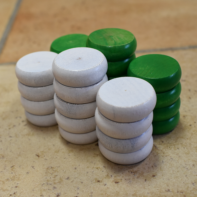 26 Traditional Size Crokinole Discs - White & Green - DISCOUNTED