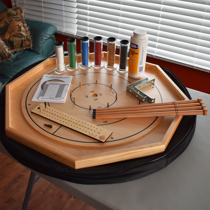 Premium Crokinole Board Game Kit - The Gold Standard - Point Numbers on Front & Checkers on Back