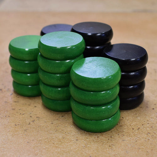 26 Tournament Size Crokinole Discs (Black & Green)
